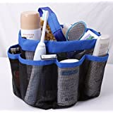 Ecoss Folding Bathroom Quick Dry Shower Tote Mesh Shower Caddy - Hanging Toiletry and Bath Organizer with 8 Storage Compartments Perfect Dorm, Gym, Camp & Travel Tote Bag (Blue #249123)