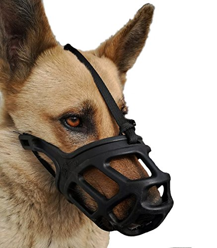 Dog Muzzle, Breathable Basket Muzzles for Small, Medium, Large and X-Large Dogs, Stop Biting, Barking and Chewing, Best for Aggressive Dogs (Large) by Mayerzon