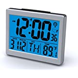 Ken-Tech T-4652 Atomic Radio Controlled LCD A larm Clock, 1.5-Inch, Black Blue Light