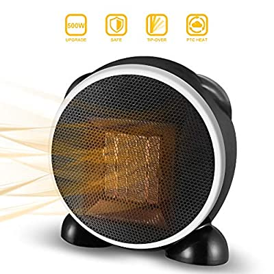 Space Heater, Fan Heater, 500W Personal Mini Space Heater Portable Electric Heaters Fan for Home and Office Indoor Use with Ceramic Heating Element & Overheat Protection
