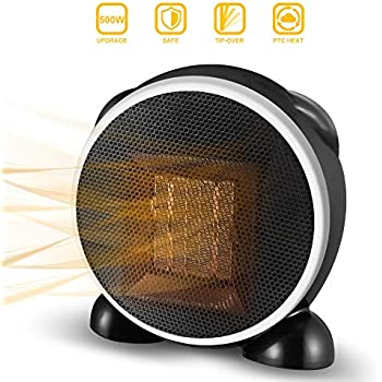 Space Heater, Fan Heater, 500W Personal Mini Space Heater Portable Electric Heaters Fan for Home and Office Indoor Use with Ceramic Heating Element & Overheat Protection (Black)