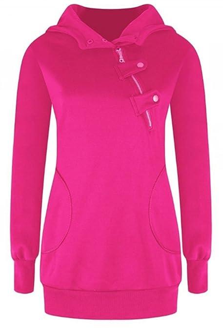Blansdi Damen Frauen Winter Herbst Langarm Kapuzenpullover Taschen Jacke  Pullover Oblique Reißverschluss Tops Outwear Hoodie Sweater Kapuzenpulli:  ...