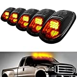 AutoEC 5pcs Amber LED Cab Roof Top Marker Running Lights For Truck SUV 4x4 (Black Smoked Lens Lamps)
