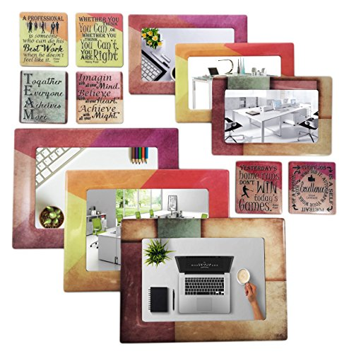 Sheen Work/Office - Magnetic Picture Frames and Refrigerator Magnets (12 Piece) with Inspirational Quotes Photo Collage - Gift for Work Office Coworker Colleague - Collage Magnet