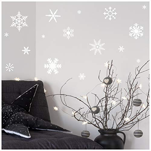 Small Snowflakes set of 30 wall saying vinyl lettering decal home decor art quote sticker (White)