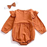 Infant Baby Girls Outfit Clothes Long Sleeve Ruffles Romper Bodysuit Twins Set (0-6 Months),Khaki