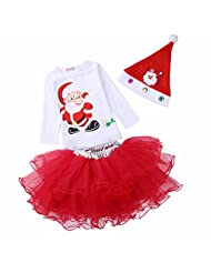 Little Girls' 3-piece Set Shirring Skirt and Santa T-shirt with Christmas Hat