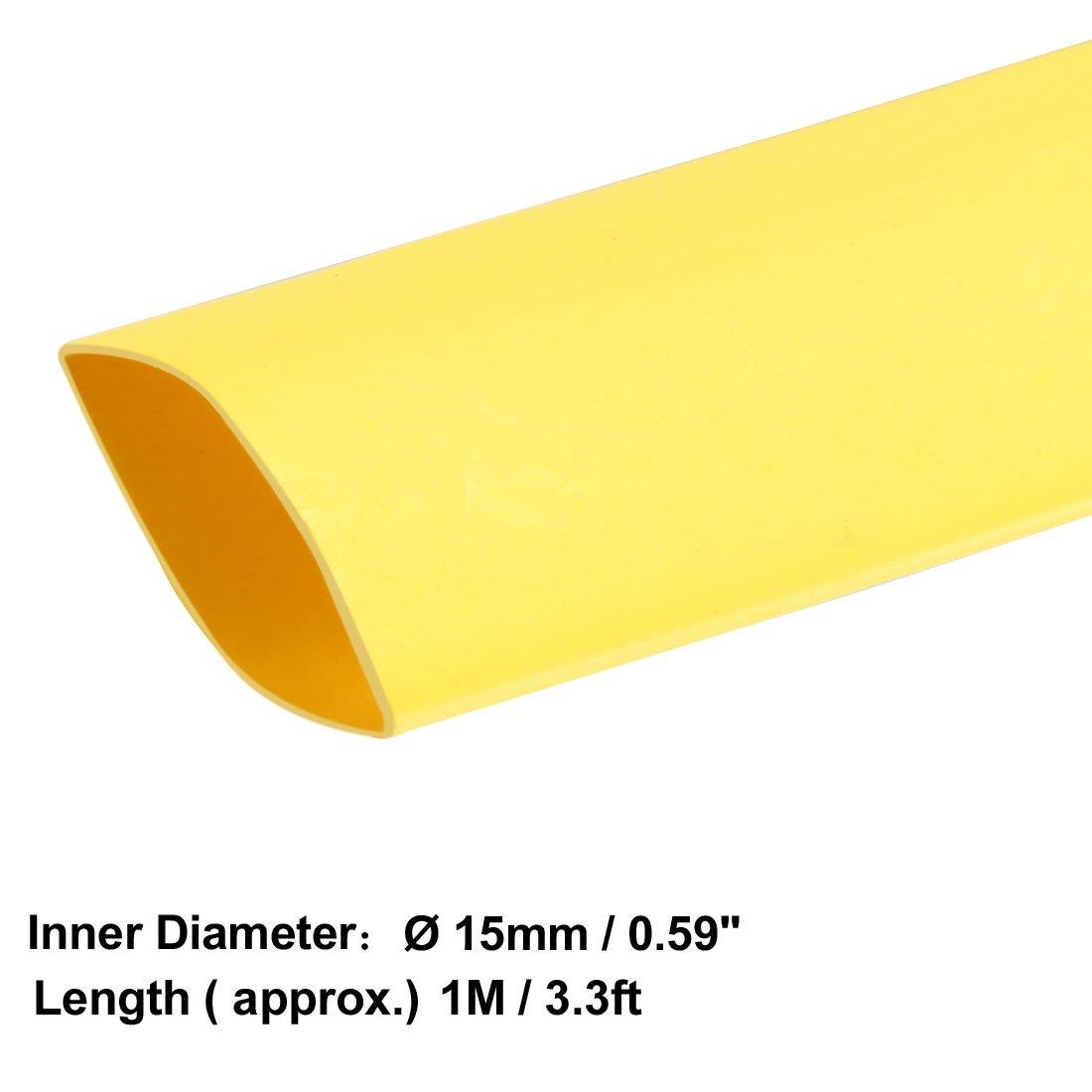 Sourcingmap Heat Shrink Tube 2 1/Tube disolation /électrique c/âble fil de tube Gaine Wrap Jaune 15/mm de diam/ètre 1/m de long