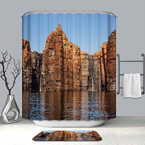 BEISISS Shower Curtain Set, Bathroom Fabric Curtains Waterproof and Bath matpanorama of King George River Falls Kimberley Coast Standard Size(60x78+16x24) in