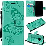 Samsung Galaxy S9 Case, Lomogo Leather Wallet Case with Kickstand Card Holder Shockproof Flip Case Cover for Samsung Galaxy S9 - LOKTU21664 Green