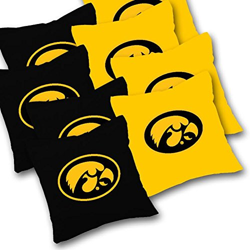 IOWA HAWKEYES Cornhole Bags SET of 8 Officially Licensed ACA REGULATION Baggo Bean Bags ~ Made in the USA