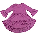 Yawoo Haan Toddler Girls 3/4 Sleeve Cotton Dresses Casual High Low Dress Purple 2T