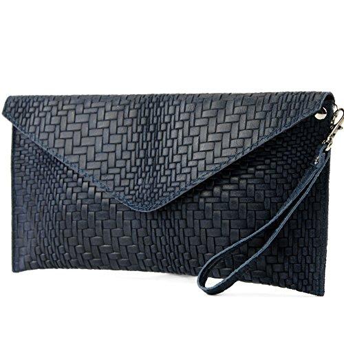 Wrist Braid Modamoda bag bag Handbag pattern underarm bag Evening de Blue Dark Leather T106F ital bag Clutch xwT7Cw
