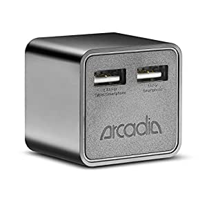 Wall Charger, Arcadia NT90C 17W 5V/3.4A [Dual USB Ports] AC Wall Charger with [Foldable Prong] for most of the Smartphones, iPhone 6, iPhone 6 Plus, Galaxy S5,.. 5V Tablets, iPad Air, iPad 2/3/4,.. and more.