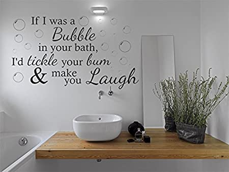 Funny Wall Quote If I Was A Bubble Bathroom Wall Sticker Vinyl Wall Art Quote Decal Azure Blue Medium 56cm W X 31cm H
