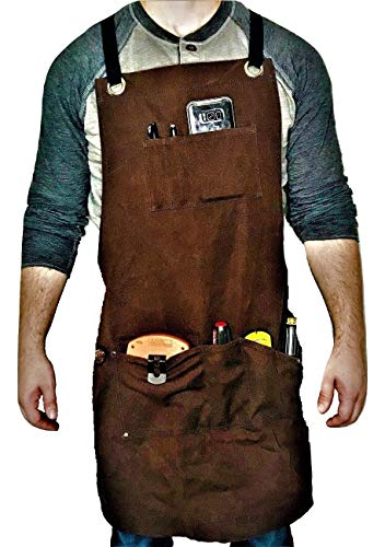 - Armor Gear - Waxed Canvas Work Apron with Pockets is Rigid yet Durable, Tackle Projects in Comfort and Style; Water-Resistant Tool Aprons For Men or Women Cross-Back Straps Adjustable Sizes up to XXL