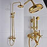 Rozin Bathroom Tub Shower Faucet Units 8-inch Rainfall Shower Head with Handheld Spray Gold Polished