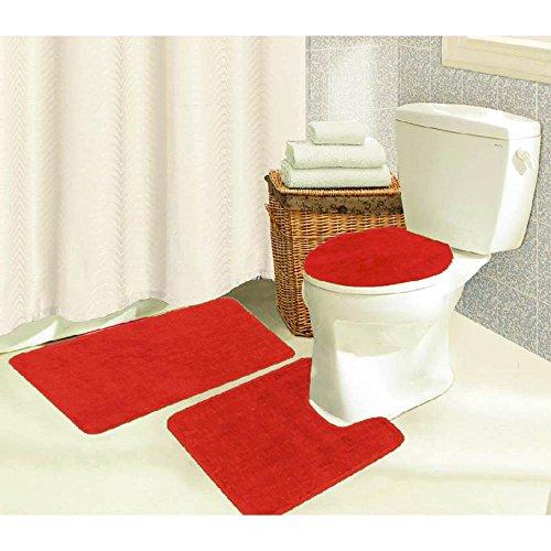Brandy 3 Piece Solid Frieze Bathroom Shower Tub Rug Set, Bath Mat, Contour, Toilet Seat Lid Cover (Red)