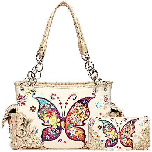 Western Style Spring Butterfly Flower Concealed Carry Purse Women Country Handbag Shoulder Bag Wallet Set (Ivory Set)
