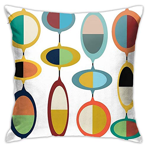 QNOQME Throw Pillow Cover Mid-Century Modern #4 Decor Pillowcase Square Hidden Zipper Cushion Pillow Case for Home…