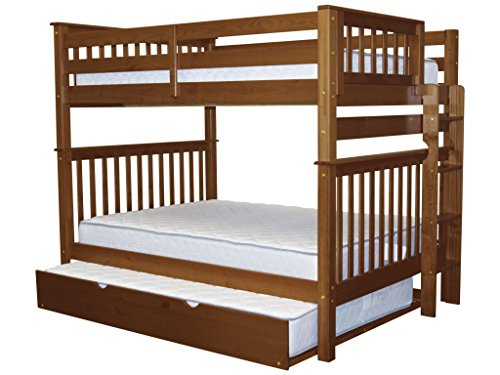 Cheap Bedz King Bunk Beds Full over Full Mission Style with End Ladder and a Full Trundle, Espresso