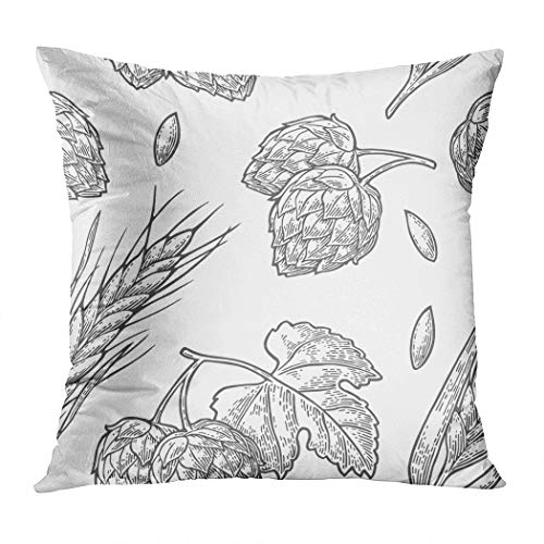 Janyho Throw Pillow Cover Seamless Pattern Hop Leaf Ear Barley Comfortable Print Living Room Sofa Bedroom Polyester Hidden Zipper Pillowcase Cushion Cover 20x20 -