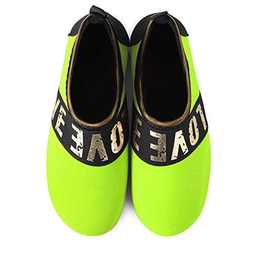JOINFREE Damen Herren Kid Sommer Wasser Schuhe Barfuß Schuh Quick Dry Aqua Socken Yoga Liebe Grün