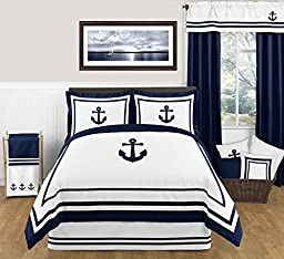 Anchors Away Nautical Navy and White Accent Floor Rug