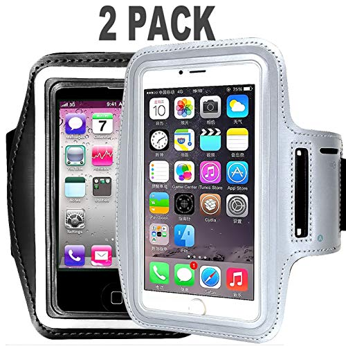 [2pack] Cell Phone Armband: 5.7 Inch Case for iPhone X XS XR MAX 8/8 Plus/7 Plus, 6/6S Plus, S8,Galaxy Note Phones.etc.CaseHQ Adjustable Reflective Workout Band, Key Holder(Black+Silver)