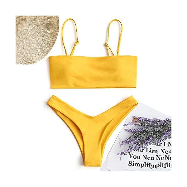 ZAFUL Bikini Set a Fascia Alta da Bonna Costumi da Bagno Imbottito con Cinturino a Moschettone 2 spesavip