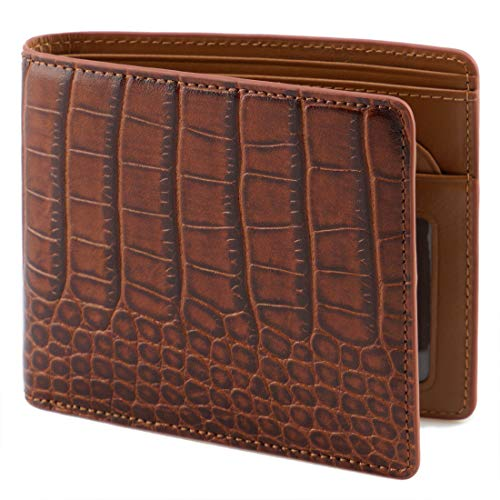 (Lethnic Mens Bifold Wallet features Horizontal Credit Card Style, Made from Crocodile Embossed Cowhide Genuine Leather with RFID Blocking, Super Thin and Slim for Pockets, Brown Horizontal)