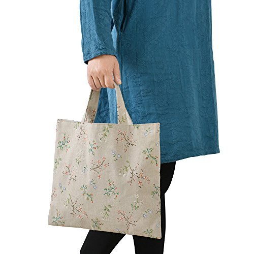 Caixia Women's Charming Floral Branch Canvas Tote Shopping Bag Beige (No closure) by caixia (Image #1)