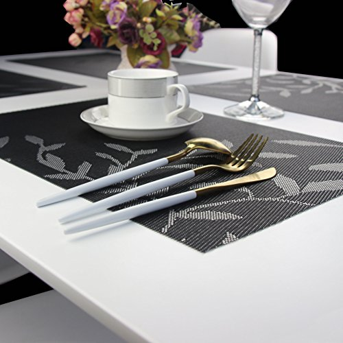 Bright Dream Placemats Plastic for Kids Washable Easy Wipe Clean for Dinner Table Heat-resistand Woven Vinyl Outdoor Table Mats Set of 6(Black) by Bright Dream (Image #7)