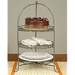 CTW 3 Tier Round Galvanized Metal Tiered Serving Stand for Appetizers Dessert Cupcakes Napkins Plates Cake Stand Rustic Farmhouse for Weddings Tea Parties Holiday Dinners or Birthday Parties Gray