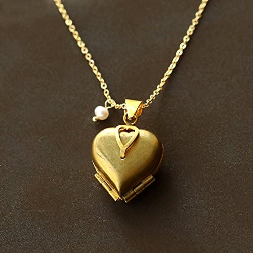 Photo Locket Gold Brass Locket Vintage Style Brass Etched Locket Necklace Gift For Mothers Day