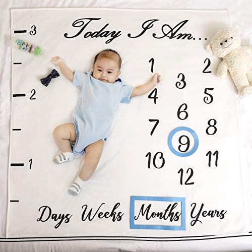 Baby Monthly Milestone Blanket Boy | Bonus Ruler, Frames, Bow Tie & eBook | Large Personalized Newborn Photography Backdrop Props for Boy & Girl | Perfect Baby Shower & Gender Reveal Gift For Mom