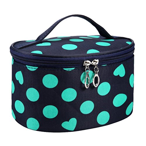 Makeup Mirror Dots (TRENDINAO Green/Hot Pink/Orange/White/Watermelon Red Cosmetic Makeup Bag Case Handle Round Dot Large Travel Organizer Holder With Mirror)