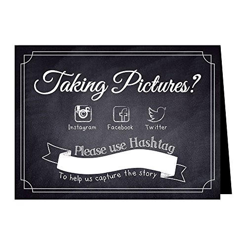 Hashtag Social Media Table Card Signs for Weddings and Parties - Chalkboard Style - 10 Pack