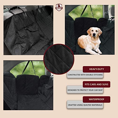 Mosher Pets Dog Hammock for Back Seat 600D Heavy Duty Scratch Proof Nonslip Durable and Waterproof Rear Dog Seat Cover For Benches for Cars, Jeep Wranglers and SUVs 53×57 inches