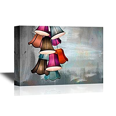 Canvas Wall Art - Colorful Lamps on Abstract Background - Gallery Wrap Modern Home Art | Ready to Hang - 12x18 inches