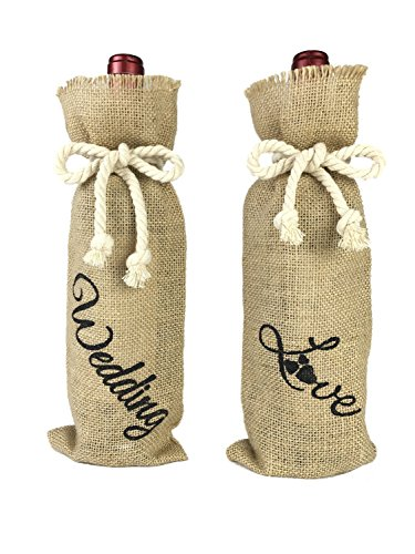 Rustic Mens Costumes (Rustic Burlap Wine Bags with Drawstring, Bridal Shower Wine Bottle Covers, Set of 2 (Wedding&Love))