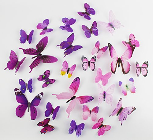 Euter Butterflies Kids' Baby Wall Stickers Room Decorations, Hang Indoors 3D Colorful Butterfly Wall Decals DIY Art Decor Crafts - Set of 4,Purple,and Pink 48 ()