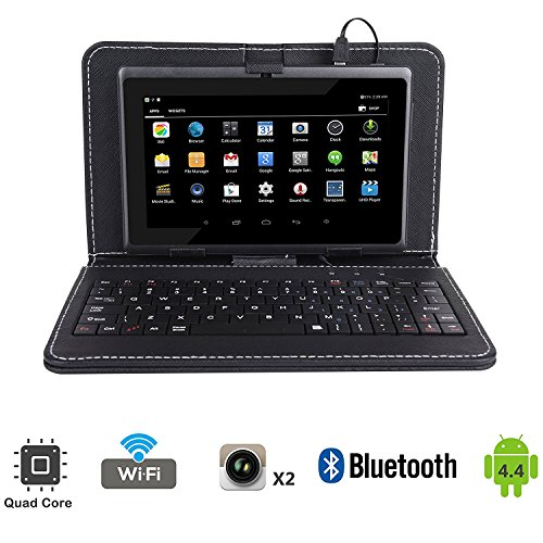 """Tagital 7"""" Quad Core Android 4.4 KitKat Tablet PC, Dual Camera, Play Store Pre-installed, 2017 Newest Model Bundled with Keyboard (Black)"""