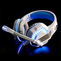RedHoney XBOX S Gaming Headset GM2 3.5mm Stereo LED Headphone with Microphone and Y Splitter for PS4 Xbox One PC Laptop Smartphone Tablet (GM-2 White+Blue) by redhoney