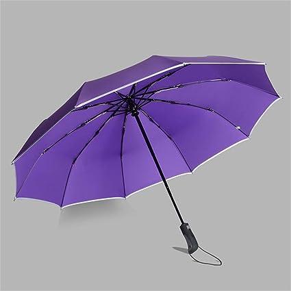 Umbrella Tres Paraguas Plegables, Paraguas automático Resistente a la Intemperie, Negro Azul Rojo Púrpura