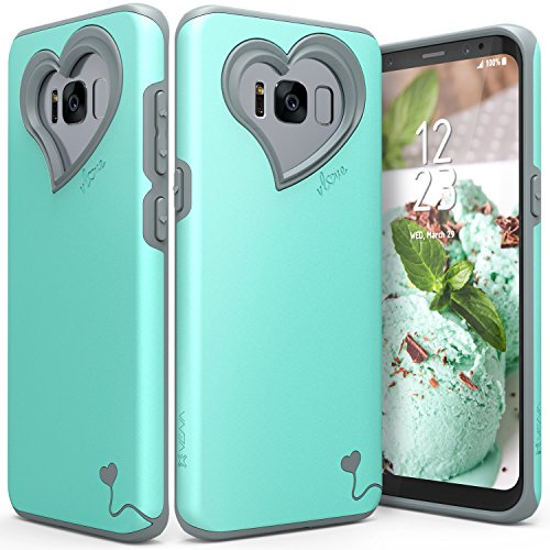 Galaxy S8 Case, Vena [vLove][Heart-Shape | Dual Layer Protection] Hybrid Bumper Cover for Samsung Galaxy S8 (Teal Heart)