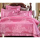 GL&G High-end luxury European cotton satin jacquard wedding soft breathable bed four sets (quilt Cover × 1PC, Bed Sheet × 1PC, Pillowcase × 2PCS),a5,1.8m(6ft) bed