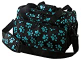 Wahl Professional Animal Travel Tote Bag with Zipper, Turquoise Paw Print Design (#97764-300)