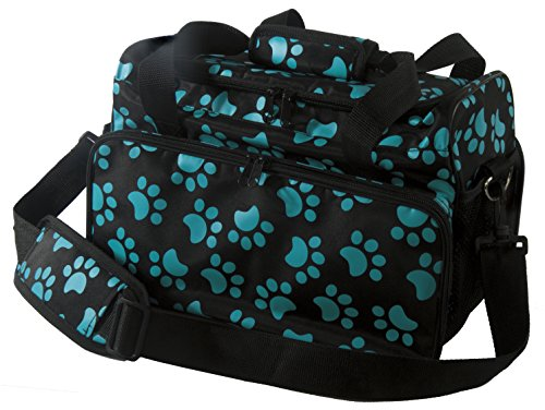 (Wahl Professional Animal Travel Tote Bag with Zipper, Turquoise Paw Print Design (#97764-300) )