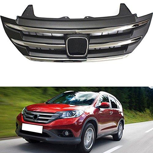 MotorFansClub For Honda CRV CR-V 2012-2014 Chrome Front Bumper Grille Mesh Grill Vent Cover